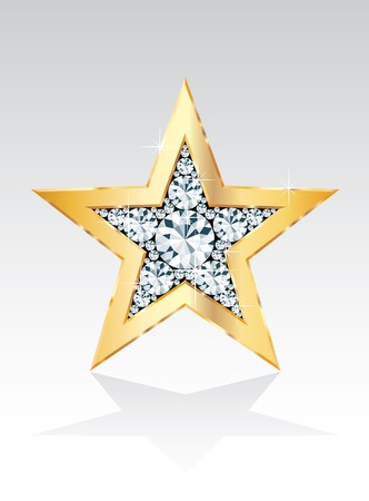 golden star with diamonds Vector