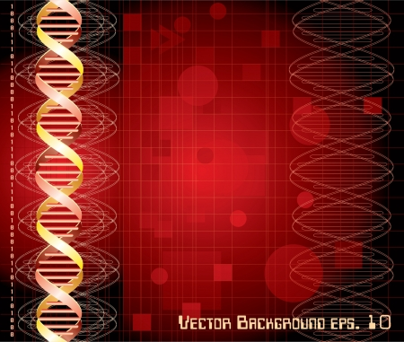 Background with abstract DNA graph Vector