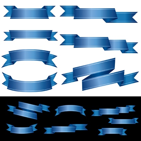 set of blank blue banners with two light lines Stock Vector - 17372795