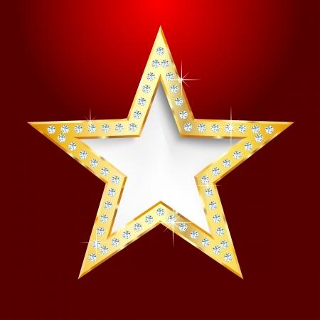 superficie: estrella de oro sobre fondo rojo con tornillos de diamantes, farándula o algo más Vectores