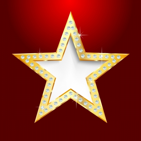 show bussiness: golden star on red background with diamond screws, show business or something else