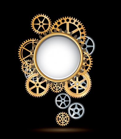 vector background with silver and golden gears Stock Vector - 17405140