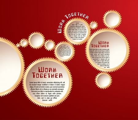 vector abstract illustration with golden gears on red background Vector