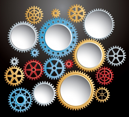 enterprise: vector background with set of colorful gears in action Illustration