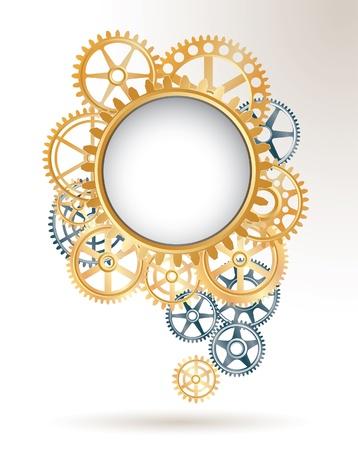 音声の雲のような銀、黄金の歯車とのベクトルの背景 写真素材 - 17405142