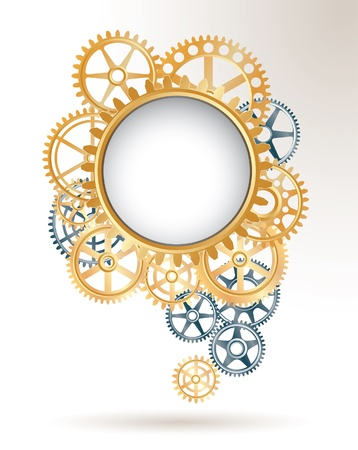 big wheel: vector background with silver and golden gears like speech cloud