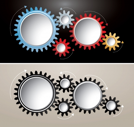 vector abstract illustration with gears with arrows Stock Vector - 17440970