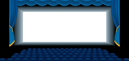 vector illustration of the blue empty cinema auditorium Stock Vector - 17474832