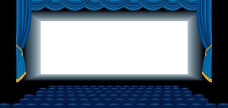 vector illustration of the blue empty cinema auditorium Stock Vector - 17474832