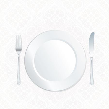 華やかな白のダマスク織のテーブル クロスにプレート 写真素材 - 17587421