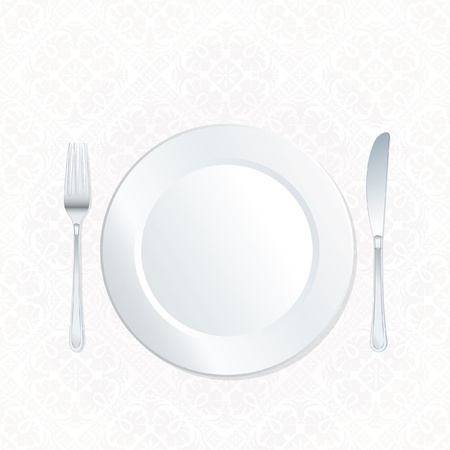 plate on ornate white damask tablecloth Vector