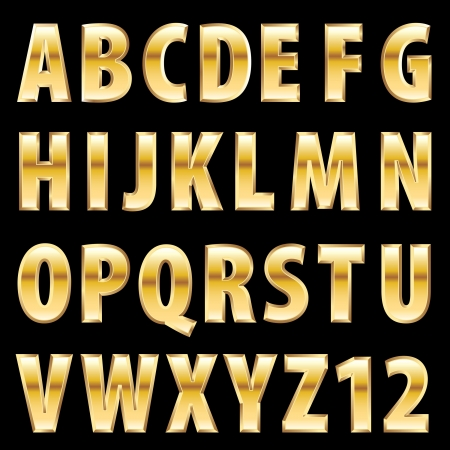 gold alphabet: golden alphabet Illustration