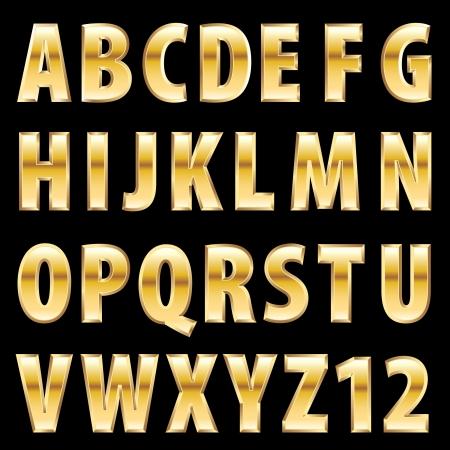 golden alphabet Illustration