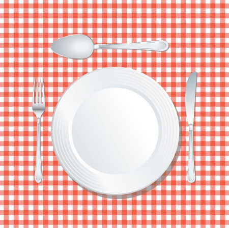 vector white plate on red tablecloth with spoon, knife and fork Vector