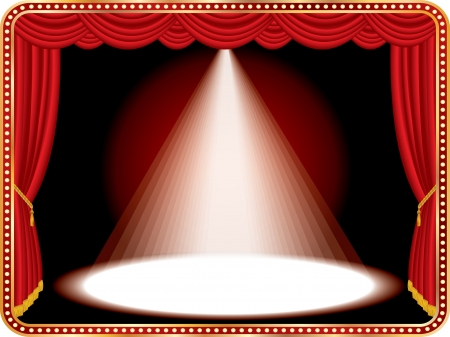light show: vector red stage with one white spot light Illustration