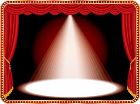 luz focal: vector rojo etapa con un foco de luz blanca