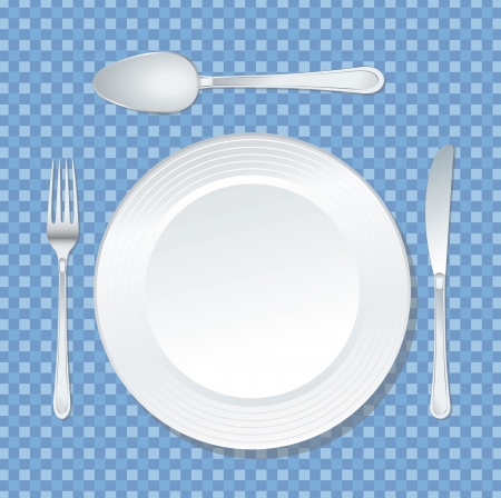 vector white plate on blue tablecloth with spoon, knife and fork Vector