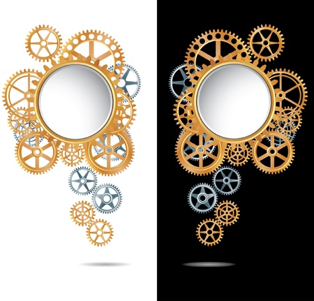 composition with silver and golden gears on white and black backgrounds Stock Vector - 17932301