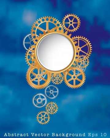 background with gears in clouds Stock Vector - 17932308