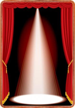 1 つの白色スポット ライトと赤のステージ 写真素材 - 17932333