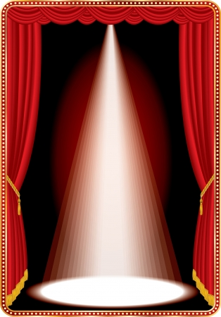 sipario chiuso: stadio rosso con una luce spot bianco Vettoriali