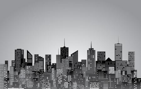 白と黒の都市のスカイライン 写真素材 - 17932335