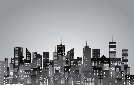 city skyline night:  city skylines in black and white