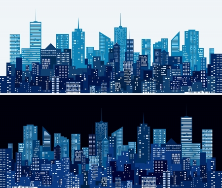 night and day:  city skylines in two blue versions Illustration