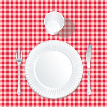 赤いテーブル クロスにプラスチック、ガラスで紙皿にベクトル 写真素材 - 18002457