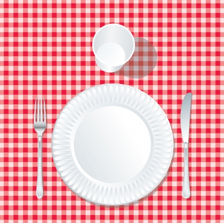 on the tablecloth: vector paper plate  with plastic glass on red tablecloth