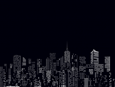 city skyline night: windows on city skylines in black and white