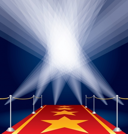 red carpet background: vector stars on red carpet and spotlights