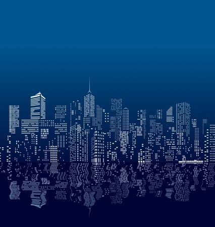 촉각 근: 물에 반사와 벡터 도시의 창
