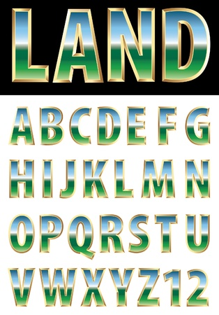 3d golden alphabet with reflection of the landscape Vector