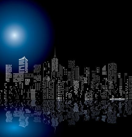 Skylines vectoriales de la ciudad con reflejo en el agua