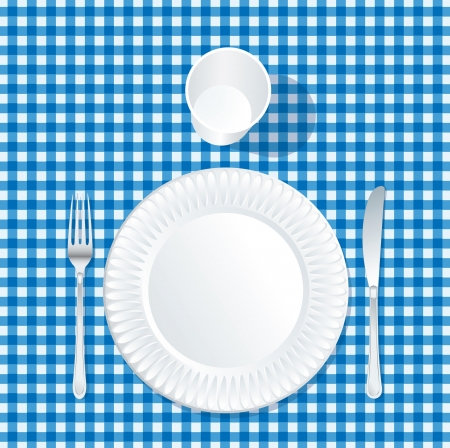 carte: vector paper plate with plastic glass on blue tablecloth