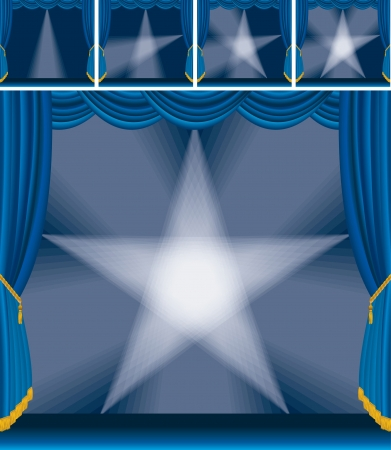 stage set: Illustration of a blue stage with star made of spotlights
