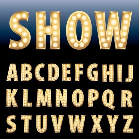 표시: 전구 램프 벡터 황금 알파벳