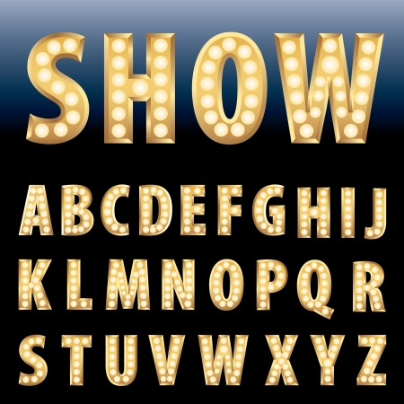 display type: vector golden alphabet with bulb lamps