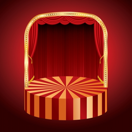 vector rounded stage with red curtain Stock Vector - 18697956