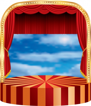 vector circle stage with red curtain and cloudy sky in back Vector
