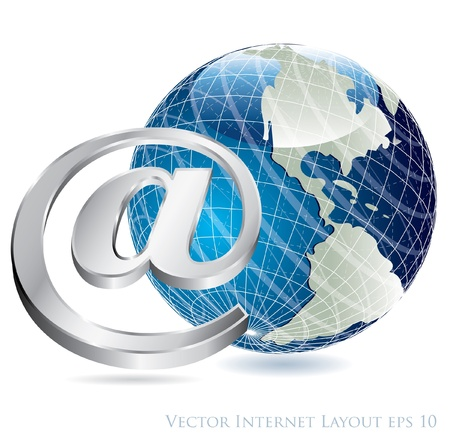 vector e-mail sign with globe  Vector