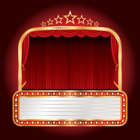 cortinas rojas: vector ancho escenario con siete estrellas y cartelera en blanco