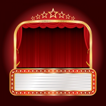 circus stage: vector wide stage with seven stars and blank billboard