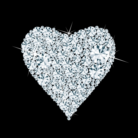 vector abstract diamond heart on black background  Vector