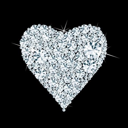 diamond jewelry: vettore astratto cuore con diamanti su sfondo nero