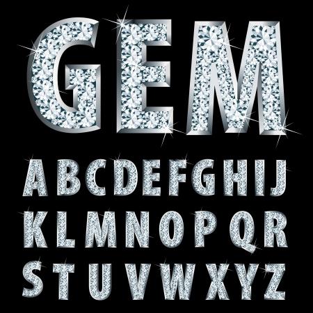 czcionki: alfabet srebrny wektor z diamentami