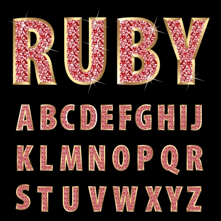 ruby stone: vector golden alphabet with rubys