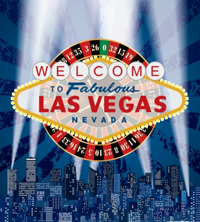 vegas sign: Las Vegas sign with roulette over the city