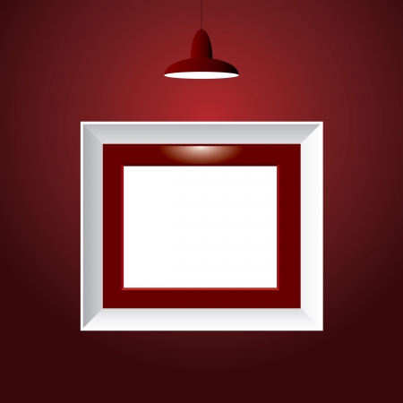 picture frame on wall: vector illustration of the empty frame with spotlight on red wall